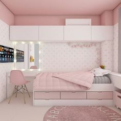 Pink Room: 60 ideas, photos and inspirations - Web 2020 Best Site Room Design Bedroom, Girl Bedroom Designs, Bedroom Layouts, Room Ideas Bedroom, Home Room Design, Small Room Bedroom, Home Decor Bedroom, Teen Bedroom, Blue Bedrooms
