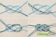 Make a sailor knot for the pony bead bracelet-Brazalete con nudo de marinero... con mostacillas