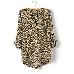 Leopard Chiffon Shirt. Would be adorable with some black ankle pants and flats for work