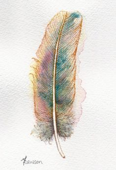 Watercolour feather painting ~ teal blue, pink and gold fantasy feather by…