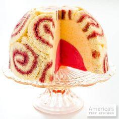 Peach Melba Ice Cream Cake, which combines peach puree, ice cream, raspberry sorbet and jellyroll cake.