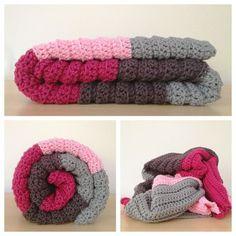 Crochet color block blanket