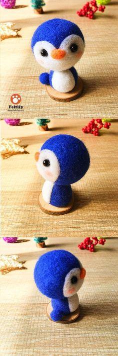 Handmade Needle felted felting kit project Animals Penguin cute for beginners starters #feltanimalsdiy