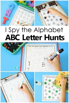 I Spy the Alphabet ABC Letter Scavenger Hunt ABC games for Preschool and Kindergarten...great for literacy centers, read the room, write the room, and more to help teach the ABCs. With free printable sample set.  #preschool #kindergarten #alphabet Preschool Reading Activities, Abc Games, Preschool Printables, Alphabet Activities, Kindergarten Worksheets, Literacy Activities, Literacy Centers, Preschool Kindergarten, Kindergarten Checklist