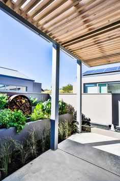 The Polycarbonate sheeting allows for light to penetrate but is waterproof. The timber slats are fixed beneath the polycarbonate sheeting safe from any wet weather conditions but yet softens an outdoor space with the timber aesthetic. Timber Pergola, Timber Slats, Steel Pergola, Outdoor Pergola, Concrete Structure, Open Plan Living, Vegetable Garden, Farmhouse, Outdoor Structures
