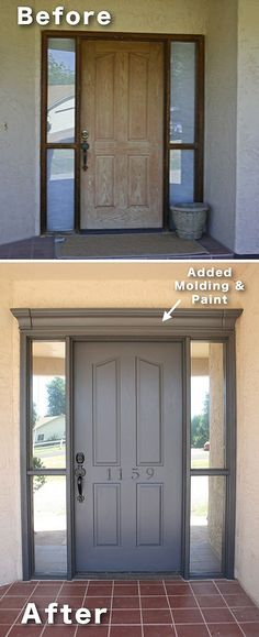 Easy and Cheap Curb Appeal Ideas Anyone Can Do (on a budget!) Add molding and paint to your front door! ~ 17 Impressive Curb Appeal Ideas (cheap and easy!)Add molding and paint to your front door! ~ 17 Impressive Curb Appeal Ideas (cheap and easy! This Old House, Br House, House Front, Diy Home Improvement, Home Renovation, My Dream Home, Home Projects, Future House, Sweet Home