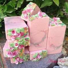 """""""Baby Rose"""", goat milk soap scented with rose fragrance oil."""