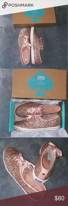 Kate Spade Rose Gold Glitter Keds Brand new and never worn; comes with orginal box as pictured. Beautiful and eye-catching rose gold glitter Keds. Great styled with jeans/leggings and t-shirt for casual/street wear. Can be dressed up with dress/skirt as desired! Comes with an extra pair of shoelaces as pictured! kate spade Shoes Sneakers