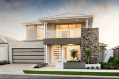 Luxury 2 Storey Homes Perth - Showcase Range Two Story House Design, Double Story House, 2 Storey House Design, Two Storey House, Flat Roof House, Facade House, House Front, House Exteriors, New House Plans