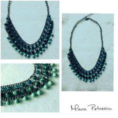 Green handmade statement necklace