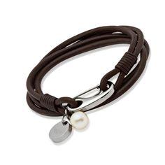 womans-dark-brown-leather-bracelet-pearl--steel-clasp--new1811