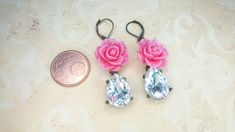 Sleek sellouts! 🤓. Order Pink Rose Earring w/ Shabby Chic Flower and Crystal Dangle at €18.00 #resin #romantic #classic #dangle #brass #ValentinesDay #etsyitaliateam #flower #elegant #rose Bride Earrings, Pink Earrings, Teardrop Earrings, Boho Earrings, Boho Jewelry, Handmade Jewelry, Mixed Metal Jewelry, Crystal Drop, Resin
