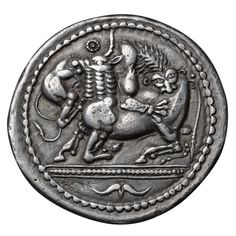 Ancient Greek Silver Tetradrachm Coin of Akanthos, 510 BC | From a unique collection of antique and modern historical memorabilia at https://www.1stdibs.com/furniture/more-furniture-collectibles/historical-memorabilia/