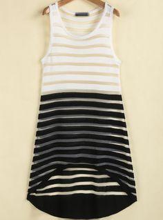 Black White Striped Sleeveless Sheer Dress GBP£14.20