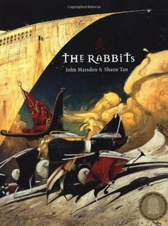 The Rabbits by Shaun Tan. Tells the story of the colonisation of Australia and the oppression of the aboriginal peoples by the British.