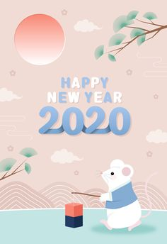 2020 2020 cute new year animal traditional hanbok illustration number sun tree mouse Happy New Year Images, Happy New Year Wishes, Happy New Year Greetings, Happy New Year 2020, Merry Christmas And Happy New Year, Lunar New Year 2020, Chinese New Year Design, Chinese New Year Card, Asian New Year