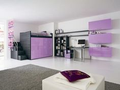 10 Contemporary Children Bedroom Concept Ideas : 10 Contemporary Children Bedroom Concept Ideas With White And Purple Wall Color Sofa Pillow Bed Grey Carpet Cabinet Mac PC Chair Big Window