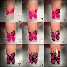 Ladies' nails have always been an important dimension of beauty and fashion. You can also have so many choice for your nail designs. Star nail art, Hello Kitty nail art, zebra nail art, feather nail designs are a few examples among the various themes. Nail Art Hacks, Gel Nail Art, Nail Art Diy, Diy Nails, Butterfly Nail Designs, Butterfly Nail Art, Nail Art Modele, Wedding Nails Design, Nude Nails