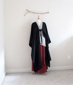 origami long wrap linen outfit three pieces handmade to measure petite to plus size / simple linen outfit / black / natural / burgundy / 3 pieces handmade to measure linen outfit including a sparrow top, heavy linen rose tuck pants and a long length origami wrap. Colors as photos shown ( please s