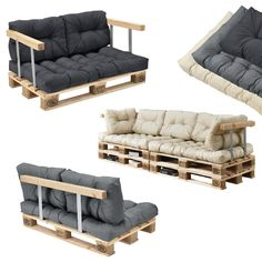 Euro Palett Furniture - Sofa This palett furniture has been ispired by the latest trends. Package includes cushions, palett, back support and armrests. Pallet Cushions, Diy Pallet Sofa, Patio Furniture Cushions, Diy Sofa, Diy Pallet Projects, Cushions On Sofa, Pallet Bank, Recycled Furniture, Home Furniture