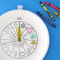 DIY : Paper Plate Calendar for Practicing the Months of the Year!  Kids will love the interactive element of this. Includes a free printable to make prep a breeze.