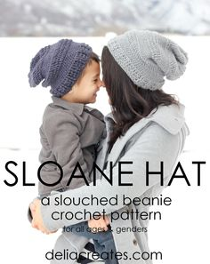 sloane hat crochet pattern for adults and kids // delia creates
