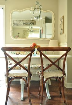 tiny dining space, with bench