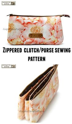 Zippered clutch/purse sewing pattern with 3 pockets, makeup bag pattern, cosmetic bag pattern.