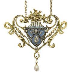 AN ART NOUVEAU ENAMEL, PEARL, DIAMOND AND GOLD PENDANT, BY LUCIEN GAUTRAIT, circa 1905