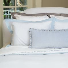Great site for designer bedding | The Linden Light Blue Border Duvet Cover | Crane and Canopy