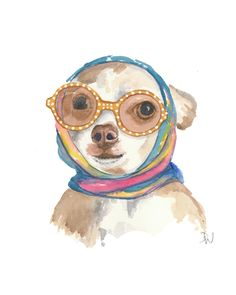 Dog Watercolour Original Painting, Chihuahua Painting, Dog Art, Movie Star Glamour, 8x10. $48.00, via Etsy.
