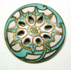 Antique French Enamel Button Pierced Turquoise & White Art Nouveau Floral 7/8""