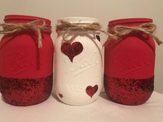 A personal favorite from my Etsy shop https://www.etsy.com/listing/583334079/valentines-mason-jars-set-of-3-painted