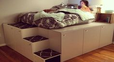 This Guy Takes 7 IKEA Kitchen Cabinets and Makes a Cool Platform Bed