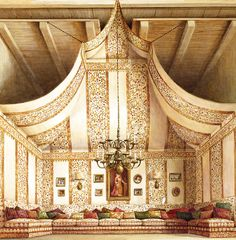 Creative Details. A 1974 drawing of a tented room at Count Rodolfo Crespi's apartment in Rome.  Designer: Renzo Mongiardino.