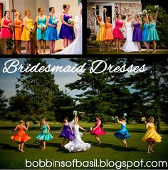Bridesmaid Dresses! Photos by Sean Marshall Lin.  Visit the link for pictures and details about the dresses and the wedding. #Rainbow wedding color scheme.