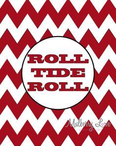 Alabama Crimson Roll Tide Chevron 8x10 Art Print by mulberrylove, $12.00