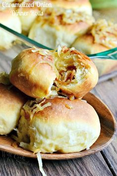 Caramelized Onion Dinner Rolls. These scrumptious rolls are made out of easy yeast dough and filled with delicious caramelized onions. | from willcookforsmiles.com