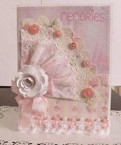 Shabby Chic Handmade Memories Card Sewn and Layered w Envelope | eBay