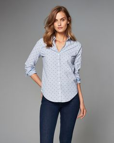 Pretty and preppy with a classic button-up silhouette, rolled sleeves, curved hem, printed back neck taping and cuffs, finished with a self-adjustable necktie for retro charm, Imported