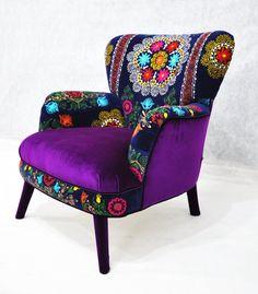 Patchwork armchair with Suzani and purple velvet fabrics. $1,600.00, via Etsy.