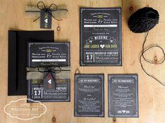 Gold foil rustic chalkboard invitations. Finished off with hessian, black twine and tag.
