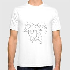 Billy Goat Wearing Sunglasses Cigar Continuous Line T-shirt by patrimonio Continuous Line, Cigar, Goat, Retro Fashion, Sunglasses, Tees, Mens Tops, How To Wear, T Shirt