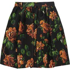 Miu Miu Floral-print silk-faille mini skirt (1.595 RON) ❤ liked on Polyvore featuring skirts, mini skirts, bottoms, saias, faldas, dark green, floral skirt, colorful skirts, silk skirt and short skirts
