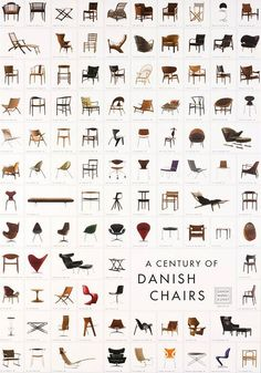 "Poster representing ""A Century of Danish Chairs"" with 105 classics! #danishdesign #danishdesignicons"