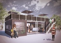 London Pop-ups: The Vinorium's Pop-up Wine Bar and Store by Gabriel's Wharf Shipping Container Restaurant, Shipping Container Homes, Shipping Containers, Container Buildings, Container Architecture, Container Shop, Container House Design, Coffee House Interiors, Pop Up Cafe