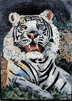 "White Tiger - by Phoenician Arts;  hand-made using 100% natural stones and hand-cut decorative tiles;  20"" x 28"";  photo by Phoenician Arts, via Flickr"