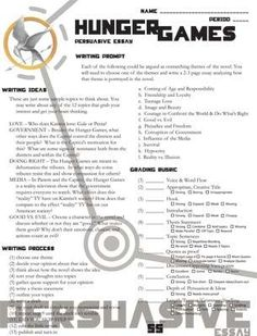 Printables Hunger Games Worksheets commercial activities and game on pinterest hunger games persuasive essay 12 themes product from createdforlearning teachersnotebook com