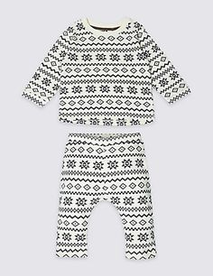 3a2e3577416 Unisex 2 Piece Pure Cotton Fairisle Outfit