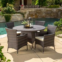 Clementine Outdoor 5pc Multibrown Wicker Round Dining Set